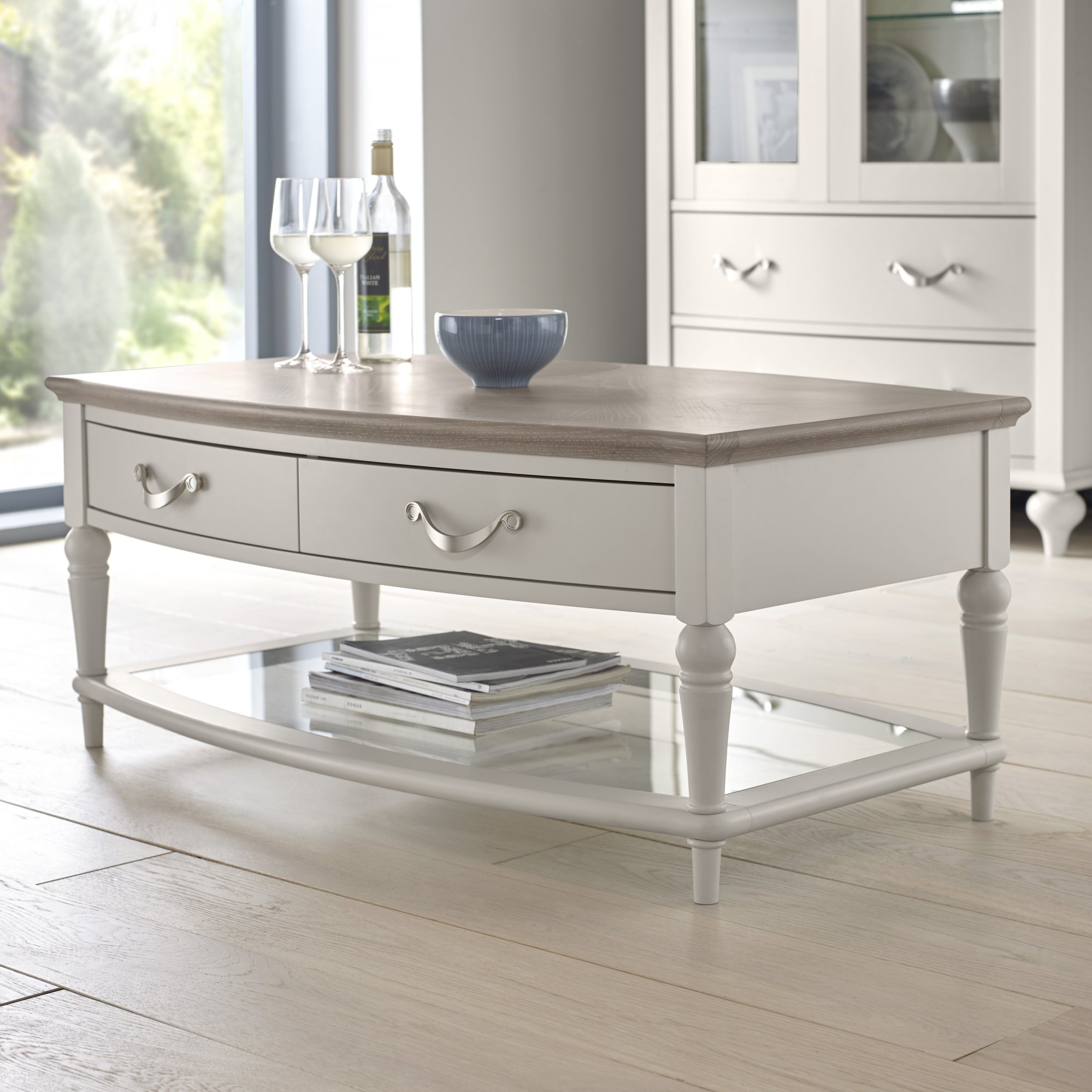 Premier Collection Montreux Grey Washed Oak & Soft Grey Coffee Table With Drawers - Coffee ...