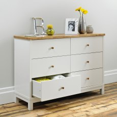 Atlanta Two Tone 6 Drawer Wide Chest