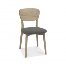Dansk Scandi Oak Veneer Back Chair - Cold Steel Fabric (Pair)
