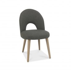 Dansk Scandi Oak Upholstered Chair - Cold Steel Fabric  (Pair)