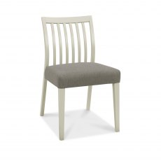 Bergen Grey Washed Low Slat Back Chair - Titanium Fabric (Pair)