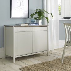Bergen Grey Washed Oak & Soft Grey Narrow Sideboard