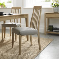 Bergen Oak Slat Back Chair - Grey Bonded Leather (Pair)