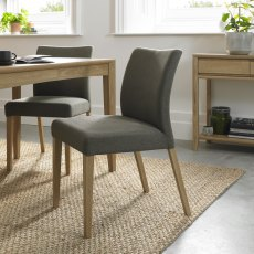 Bergen Oak Uph Chair - Black Gold Fabric (Pair)