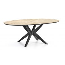 Brunel Chalk Oak & Gunmetal Elliptical Dining Table