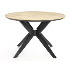Brunel Chalk Oak & Gunmetal Circular Dining Table