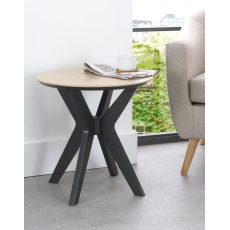Brunel Chalk Oak & Gunmetal Lamp Table - Circular