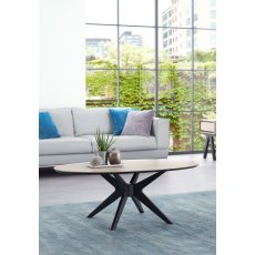 Brunel Chalk Oak & Gunmetal Coffee Table - Elliptical