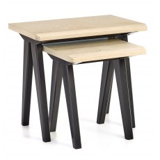 Brunel Chalk Oak & Gunmetal Nest Of Tables