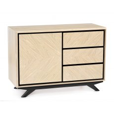 Brunel Chalk Oak & Gunmetal Narrow Sideboard