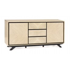 Brunel Chalk Oak & Gunmetal Wide Sideboard