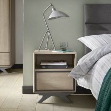 Brunel Scandi Oak & Dark Grey 1 Drawer Nightstand