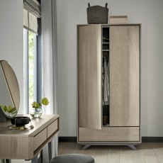 Brunel Scandi Oak & Dark Grey Double Wardrobe