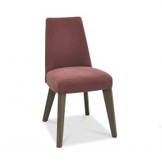 Cadell Aged Oak Upholstered Chair - Mulberry (Pair)