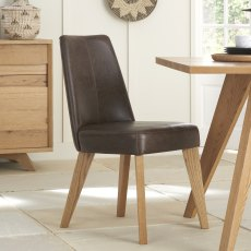 Cadell Rustic Oak Uph Chair - Espresso Faux Leather (Pair)
