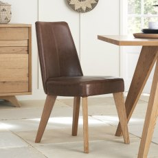 Cadell Rustic Oak Uph Chair - Tan Faux Leather (Pair)