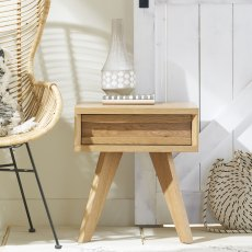 Cadell Rustic Oak Lamp Table With Drawer