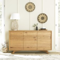 Cadell Rustic Oak Wide Sideboard