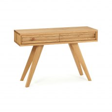 Cadell Rustic Oak Console Table With Drawers