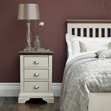 Hampstead Soft Grey & Walnut 3 Drawer Nightstand