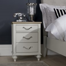 Montreux Grey Washed Oak & Soft Grey 3 Drawer Nightstand