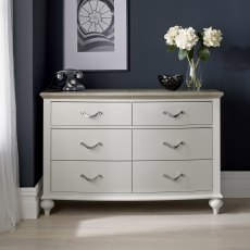 Montreux Grey Washed Oak & Soft Grey 6 Drawer Wide Chest