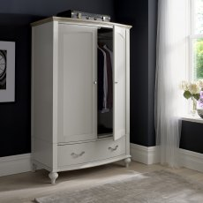Montreux Grey Washed Oak & Soft Grey Double Wardrobe