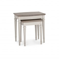 Montreux Grey Washed Oak & Soft Grey Nest Of Lamp Tables