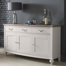 Montreux Grey Washed Oak & Soft Grey Wide Sideboard