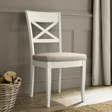 Montreux Antique White X Back Chair - Sand Colour Fabric (Pair)