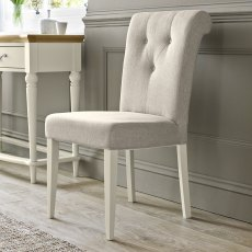 Montreux Antique White Uph Chair - Sand Fabric (Pair)