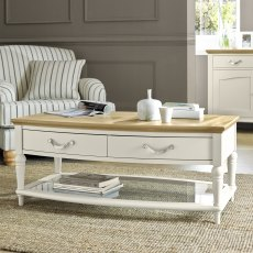 Montreux Pale Oak & Antique White Coffee Table With Drawers