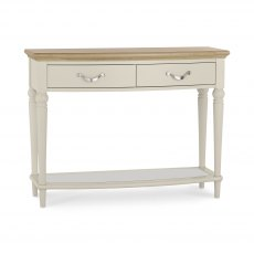 Montreux Pale Oak & Antique White Console Table With Drawers