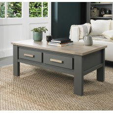 Oakham Dark Grey & Scandi Oak Coffee Table With Drawers
