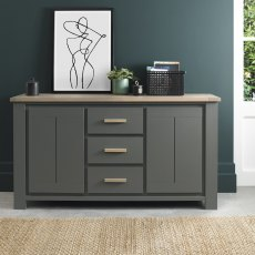 Oakham Dark Grey & Scandi Oak Wide Sideboard