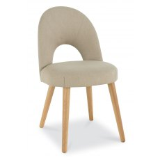 Oslo Oak Upholstered Chair - Stone Fabric (Pair)