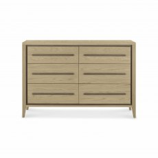 Rimini Aged Oak & Weathered Oak 6 Drawer Chest