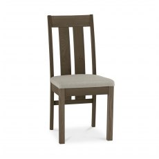 Turin Dark Oak Slatted Chair - Pebble Grey Fabric (Pair)