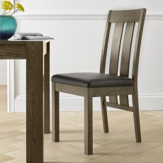 Turin Dark Oak Slatted Chair - Distressed Bonded Leather (Pair)