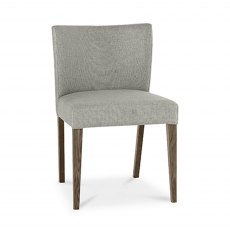 Turin Dark Oak Low Back Uph Chair - Pebble Grey Fabric (Pair)