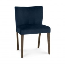Turin Dark Oak Low Back Uph Chair - Dark Blue Velvet Fabric (Pair)