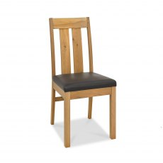 Turin Light Oak Slatted Chair - Brown Bonded Leather (Pair)