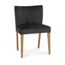 Turin Light Oak Low Back Uph Chair - Gun Metal Velvet Fabric (Pair)