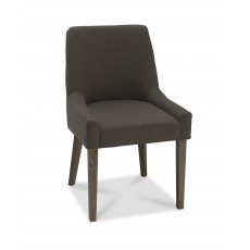 Ella Dark Oak Scoop Back Chair - Black Gold Fabric  (Pair)