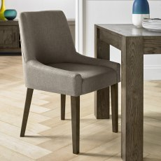 Ella Dark Oak Scoop Back Chair - Titanium Fabric  (Pair)