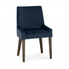 Ella Dark Oak Scoop Back Chair - Dark Blue Velvet Fabric  (Pair)
