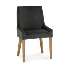 Ella Light Oak Scoop Back Chair - Gun Metal Velvet Fabric  (Pair)