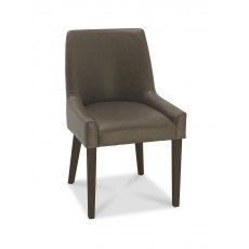 Ella Walnut Scoop Back Chair -  Distressed Bonded Leather  (Pair)
