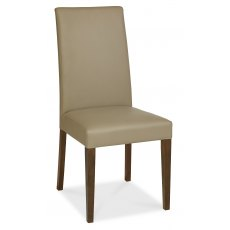 Miles Walnut Taper Back Chair - Olive Bonded Leather (Pair)