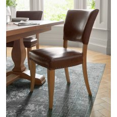 Belgrave Rustic Oak Uph Chair -  Rustic Espresso Faux Leather  (Pair)